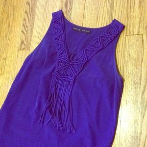 Zara cobalt shift dress w/ macrame fringe neckline